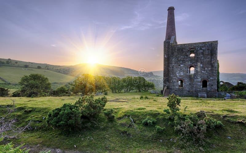 Cornish Tin Mine. An historic ruined tin mine at the Minions on Bodmin Moor in Cornwall royalty free stock photo