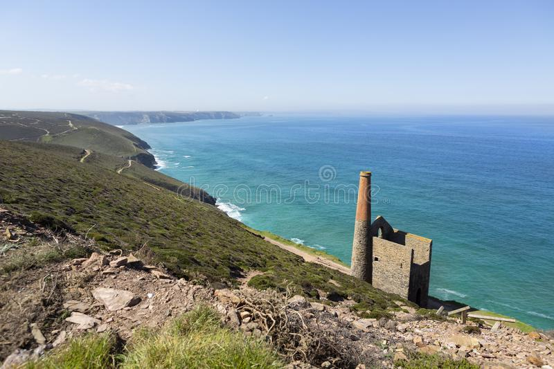 Cornish tin mine. Situated near the South West coast path in Cornwall, UK stock photography