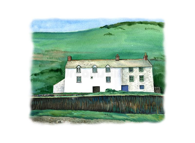 Cornish traditional house, England. Watercolor hand drawn landscape with white frame. stock illustration