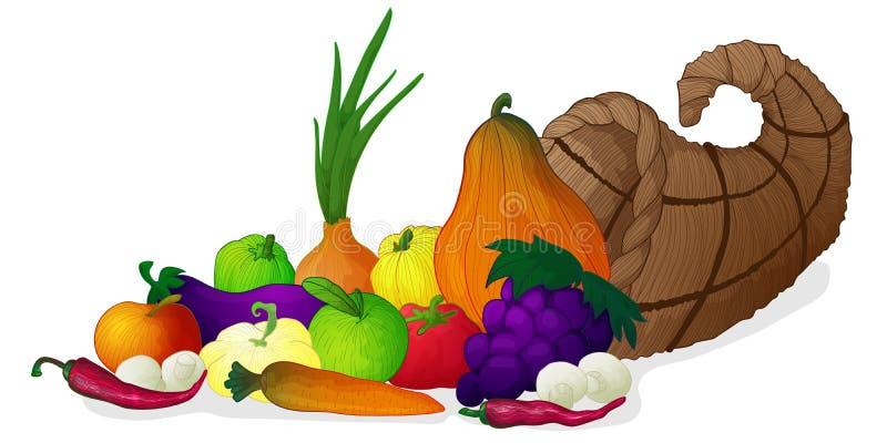 Cornucópia da tração da mão do vetor ou chifre da abundância com vegetais ilustração stock