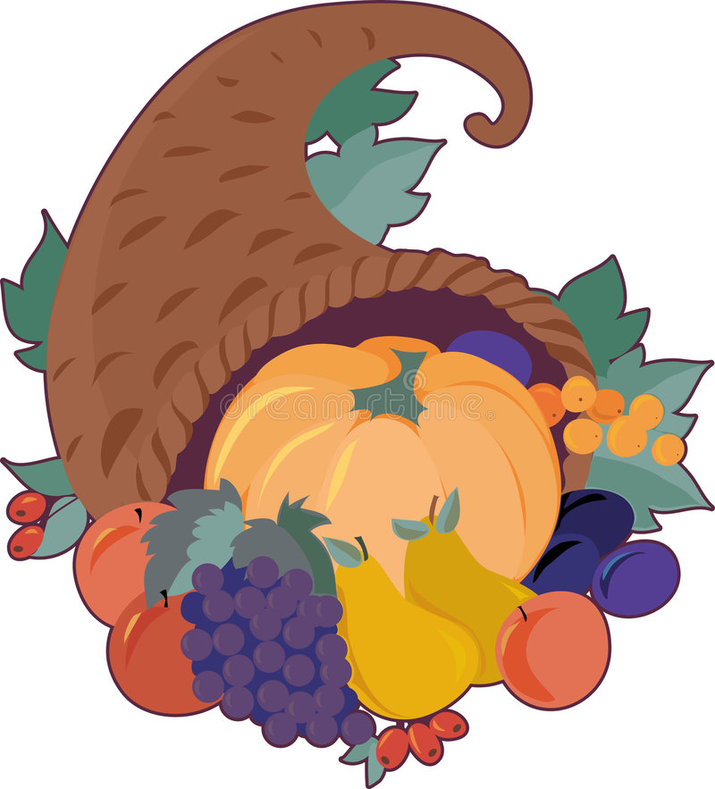 Cornucopia. A cornucopia filled with fruit vector illustration