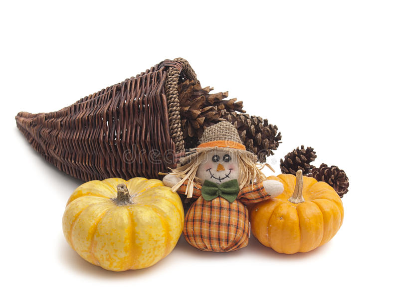 Cornucopia basket with pine cones and pumpkins royalty free stock photography
