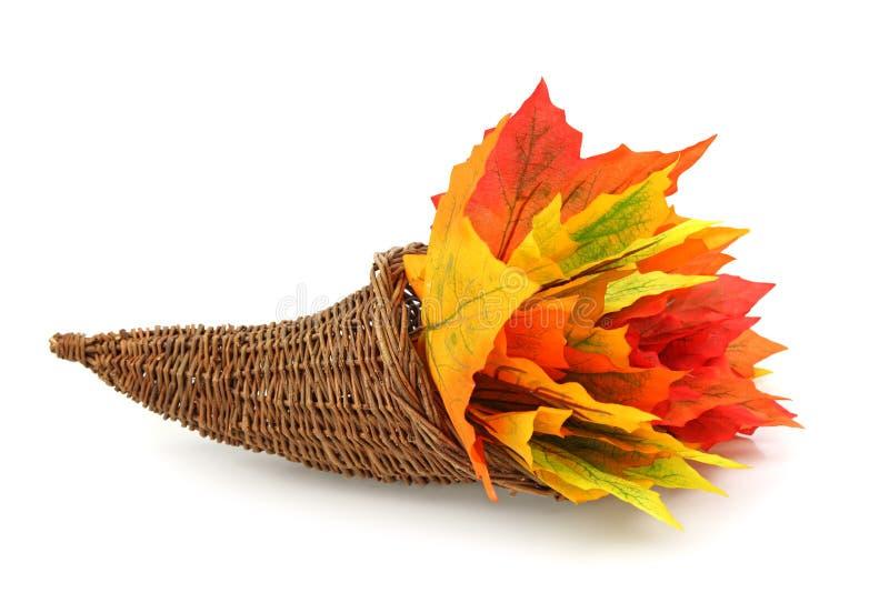 Cornucopia com folhas coloridas imagens de stock royalty free