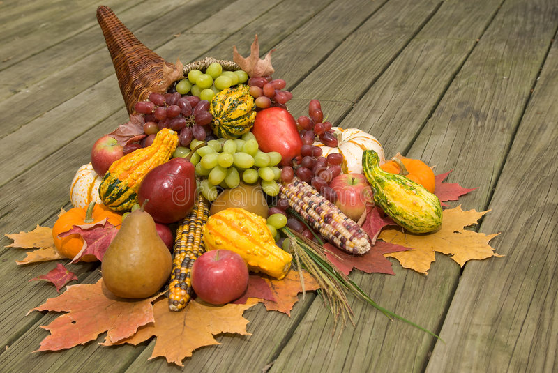 Cornucopia with fall harvest royalty free stock images