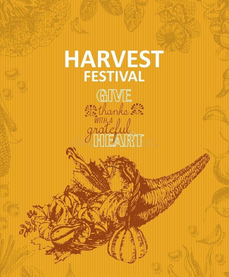 Cornucopia, horn of plenty. Harvest festival poster in vintage style. Sketch background. royalty free illustration