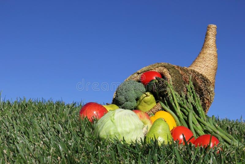 Cornucopia llenada de la fruta y verdura contra el cielo azul imagen de archivo