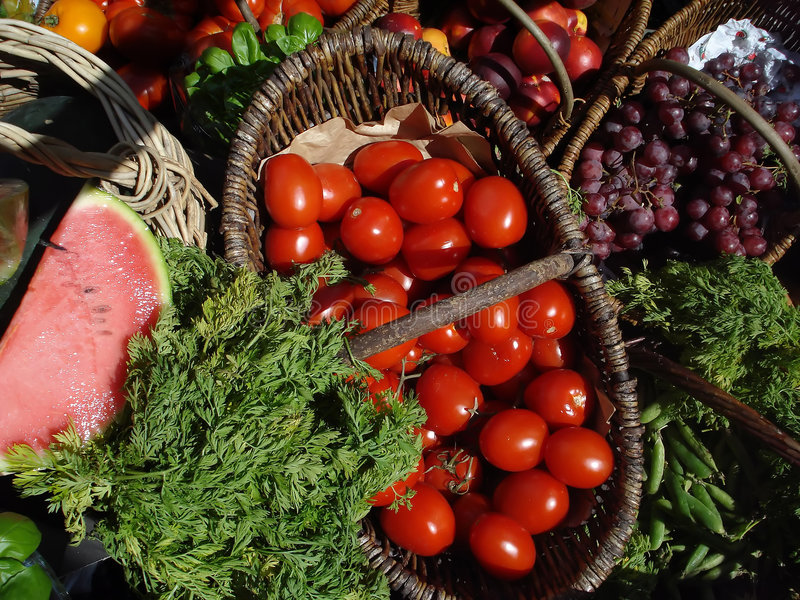 Cornucopia of Organic Fruits and Vegetables royalty free stock photo