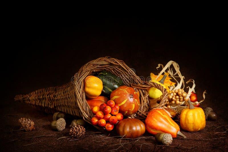 Cornucopia with pumpkins royalty free stock photography