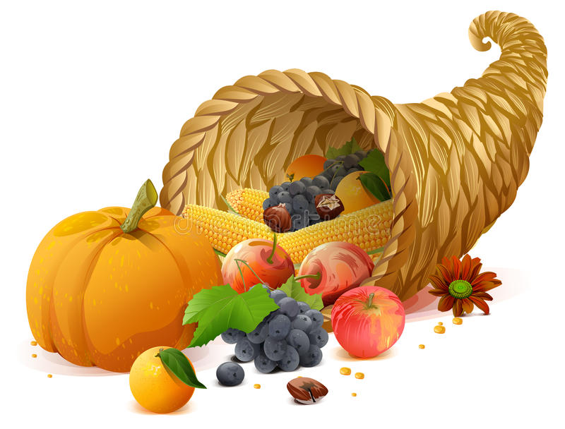 Cornucopia rich harvest on day of Thanksgiving royalty free illustration