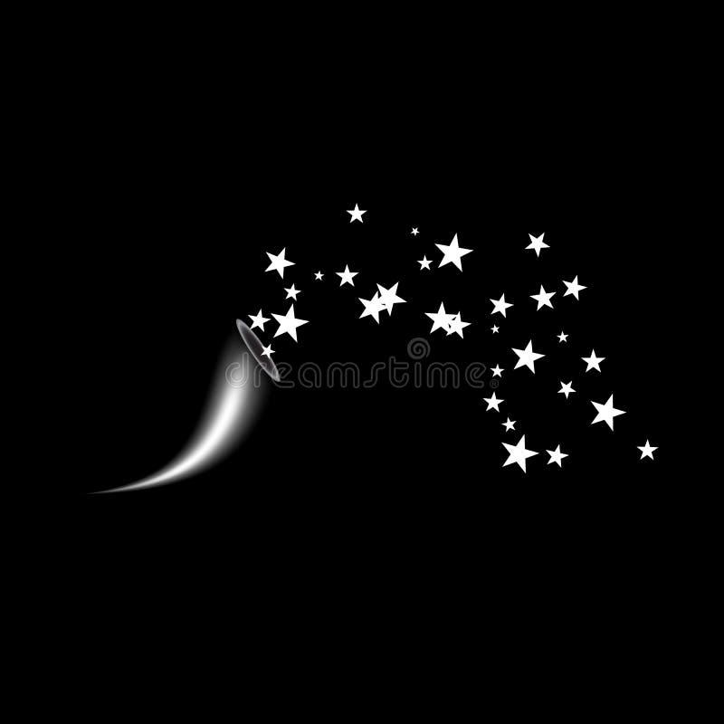 Cornucopia strzela białą gwiazdę Fajerwerki grają główna rolę przypadkowego źródło przepływ Mknąca gwiazda tła czarny splendoru g royalty ilustracja