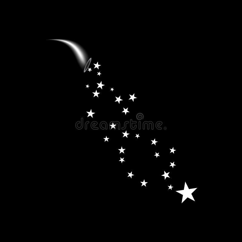 Cornucopia strzela białą gwiazdę Fajerwerki grają główna rolę przypadkowego źródło przepływ Mknąca gwiazda tła czarny splendoru g ilustracja wektor