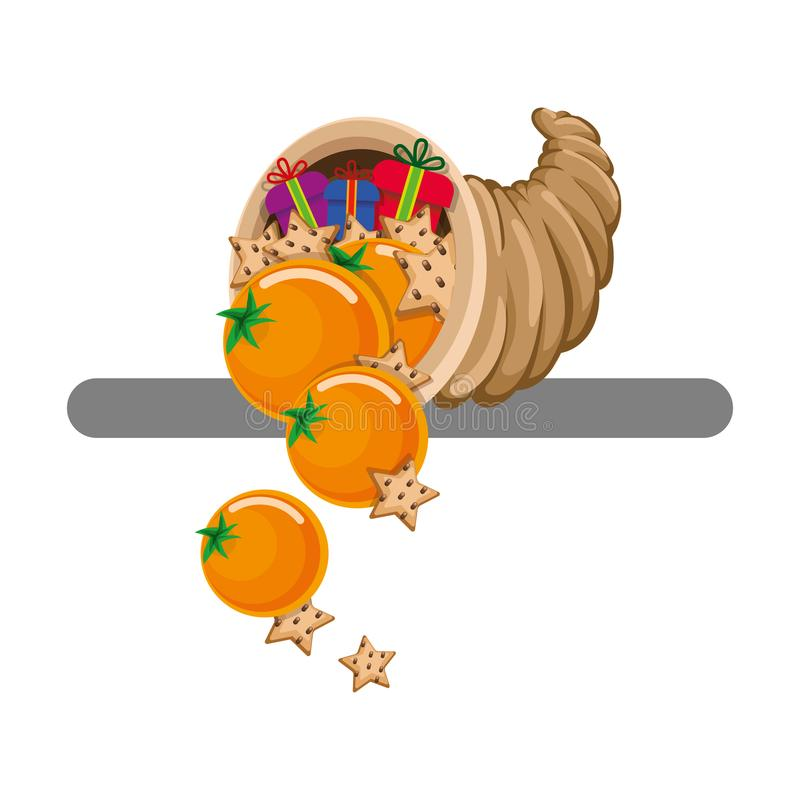 Cornucopia with tangerines, cookies and gifts. Vector. Flat. stock illustration