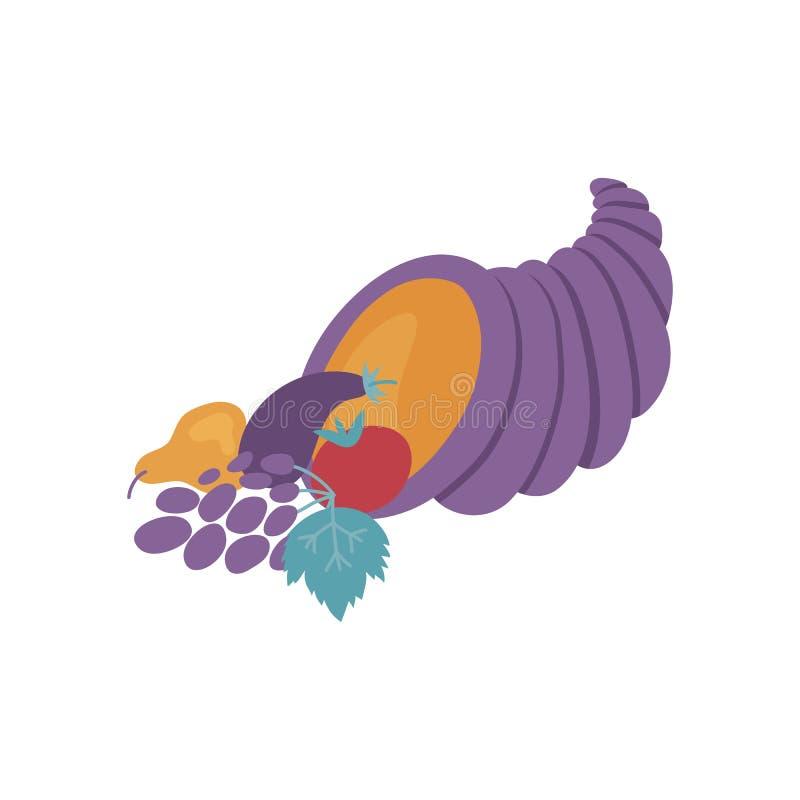 Cornucopia violeta por completo de verduras maduras y de frutas en estilo plano aisladas en el fondo blanco ilustración del vector