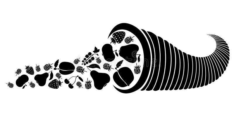 Cornucopia z jagodami i owoc ilustracji