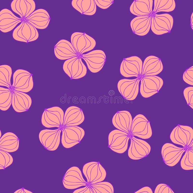 Cornus för skogskornell för sömlös för bakgrundsbild färgrik botanisk växt för blomma rosa royaltyfri illustrationer