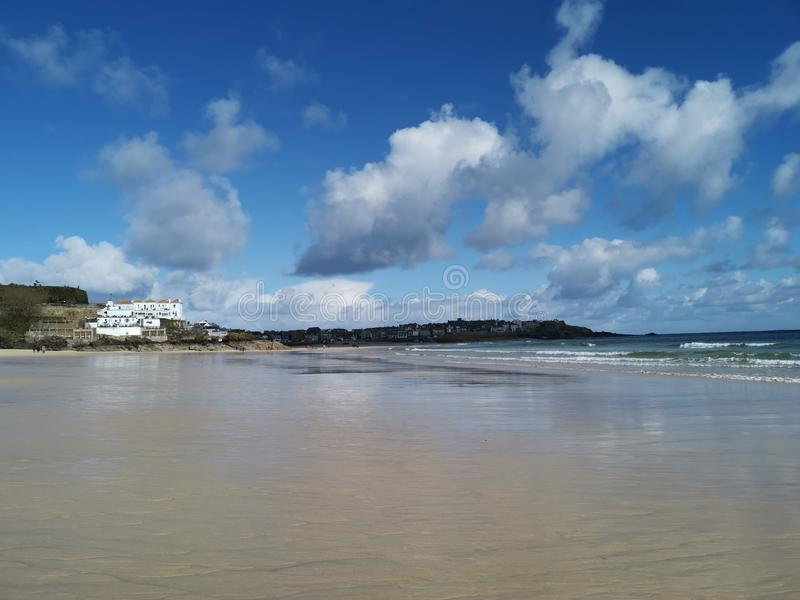 Cornwall beaches, bays and coasts. Blue, water, ocean, sea, clear, sky stock image
