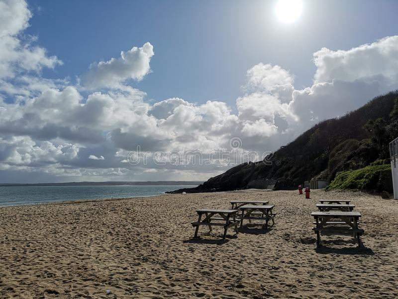 Cornwall beaches and bays to the West. Stives, oceans, waves, calm, peaceful, cloudscapes stock images