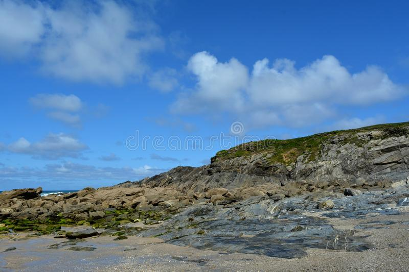 Cornwall. Blue sky travel Europe Great Britain sea rocks royalty free stock photos