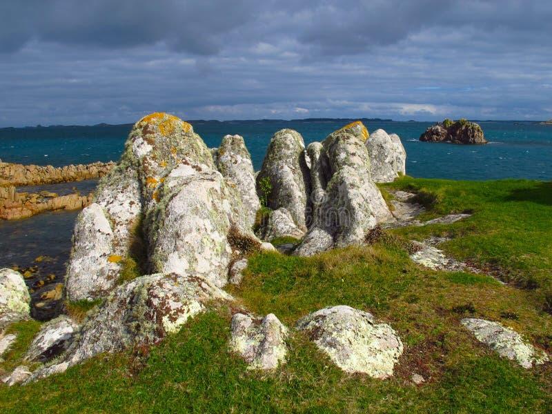 Cornwall England rocky coast, Isles of Scilly, St. Agnes island. Rocky outcropping on St. Agnes Island, Isles of Scilly, off the coast of Cornwall, England stock photo