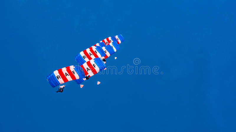 CORNWALL, ENGLAND, UK - JUNE 10,2016 : RAF Falcons Parachute Team at Royal Cornwall stock photography