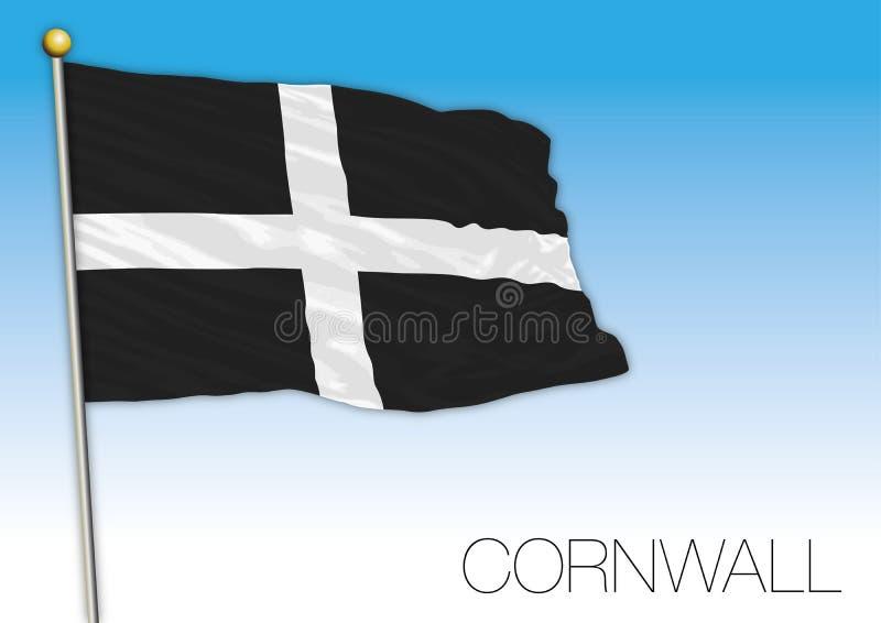 Cornwall flag, United Kingdom. Vector illustration on the blue sky royalty free illustration