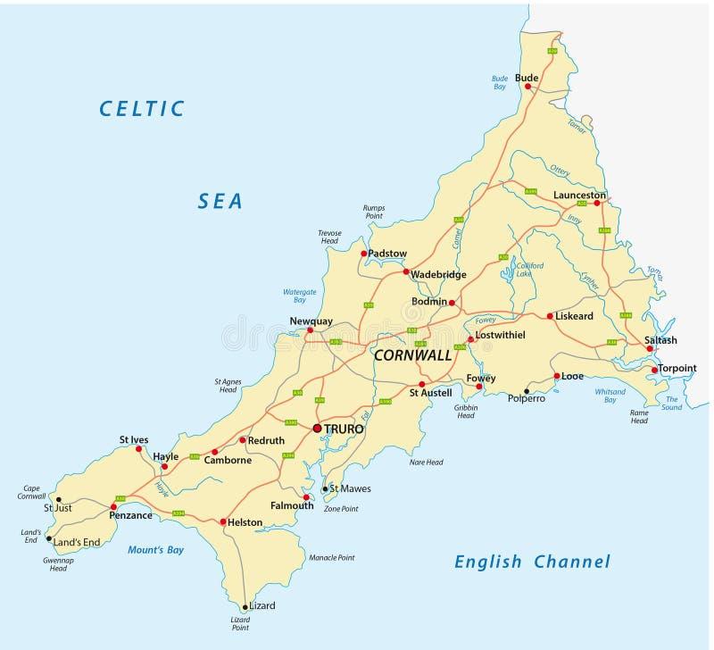 Cornwall road map stock illustration Illustration of european