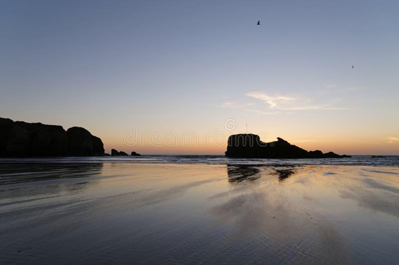Cornwall zonsondergang royalty-vrije stock fotografie