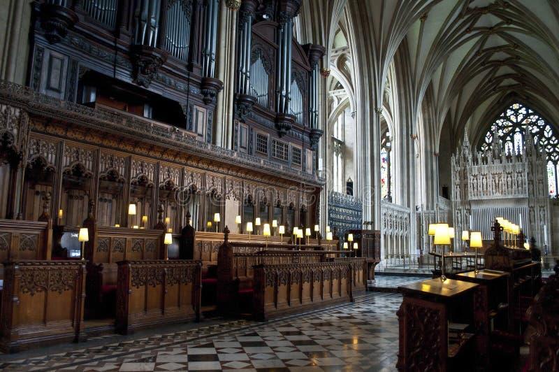 Coro, Bristol Cathedral, Inghilterra, Regno Unito immagini stock libere da diritti
