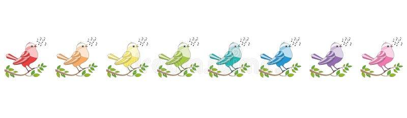Coro de canto colorido arco-íris das aves canoras ilustração royalty free