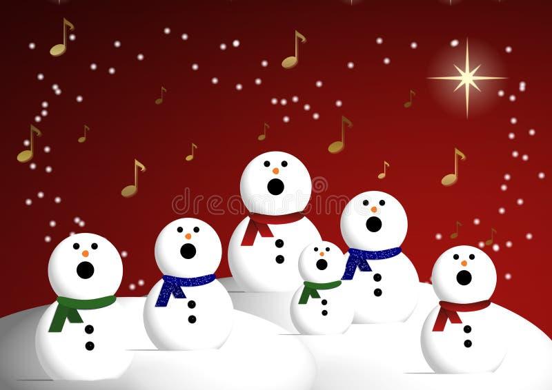 Coro de muñecos de nieve ilustración del vector