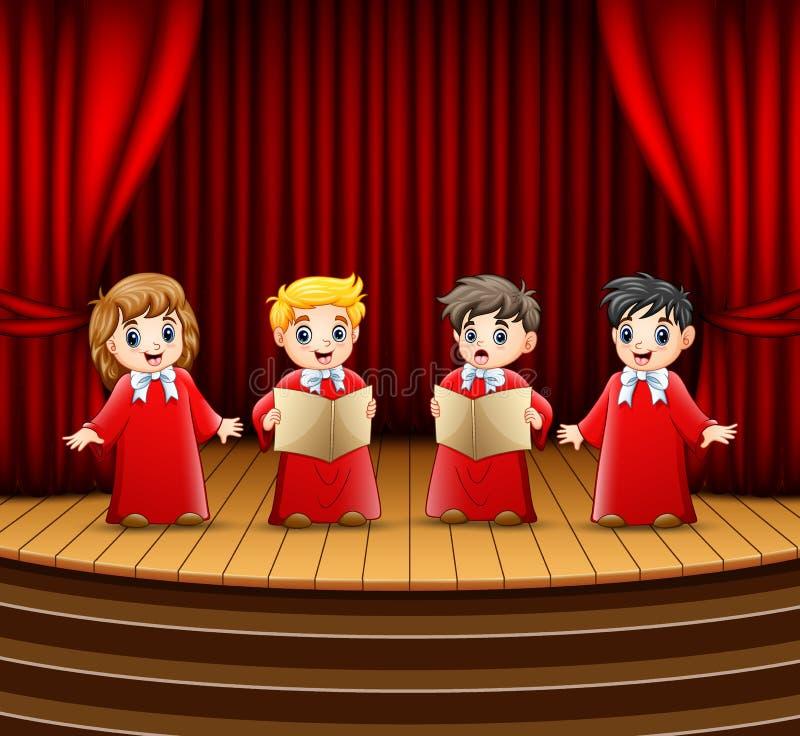 Coro dei bambini che esegue sulla fase illustrazione di stock