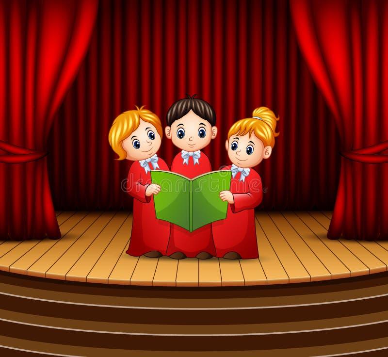 Coro dei bambini che esegue sullo stageCartoon del coro dei bambini che esegue in scena royalty illustrazione gratis