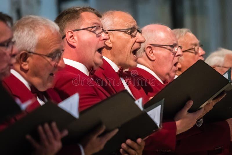 Coro dos homens que executa em uma catedral imagem de stock royalty free