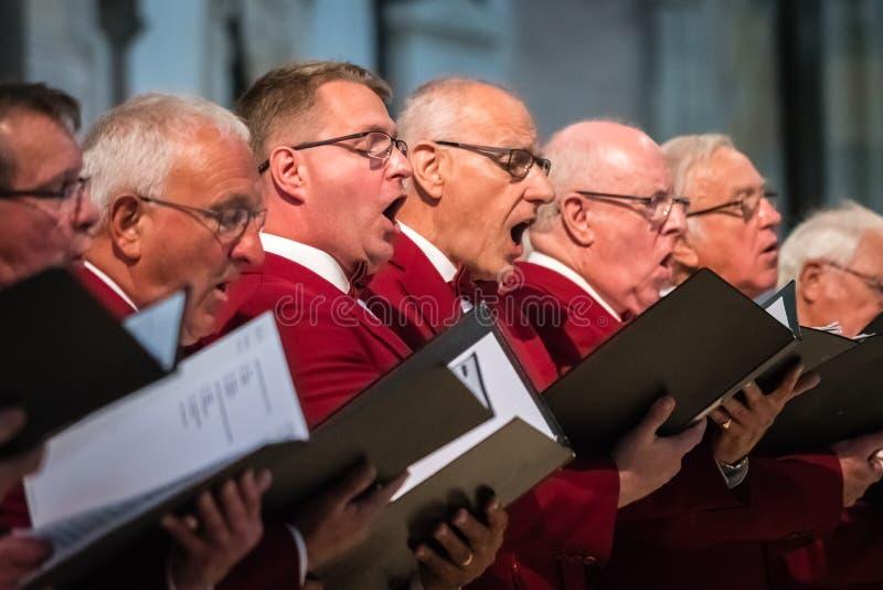 Coro dos homens que executa em uma catedral imagens de stock royalty free