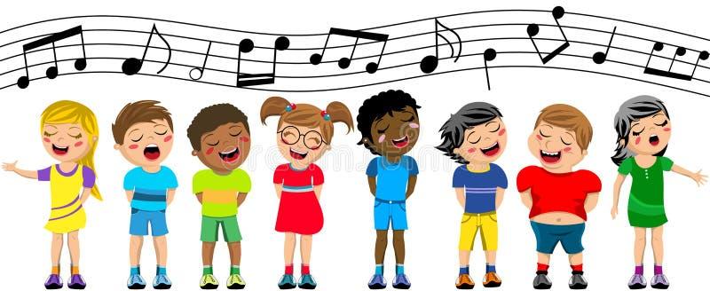 Coro feliz do canto da criança das crianças isolado ilustração do vetor
