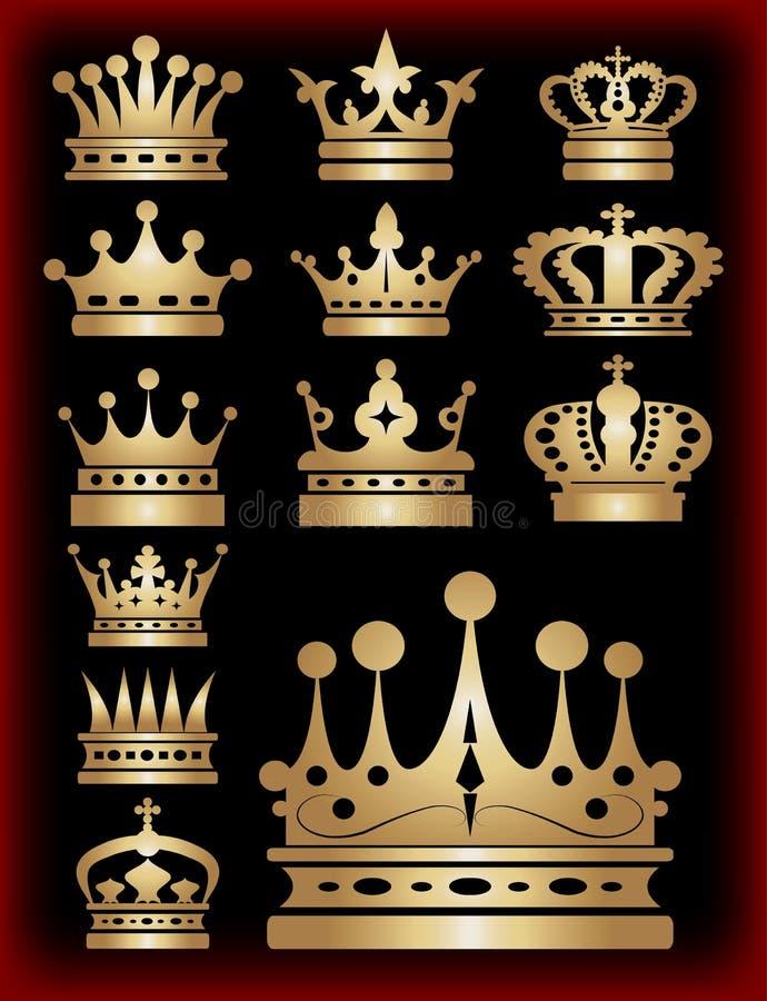 Coroa. Ícones da coleção. Vetor. ilustração stock