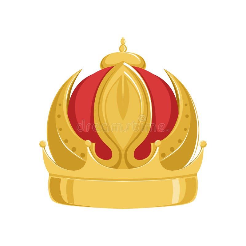Coroa antiga do imperador dourado com veludo vermelho, ilustração imperial heráldica clássica do vetor do sinal ilustração stock