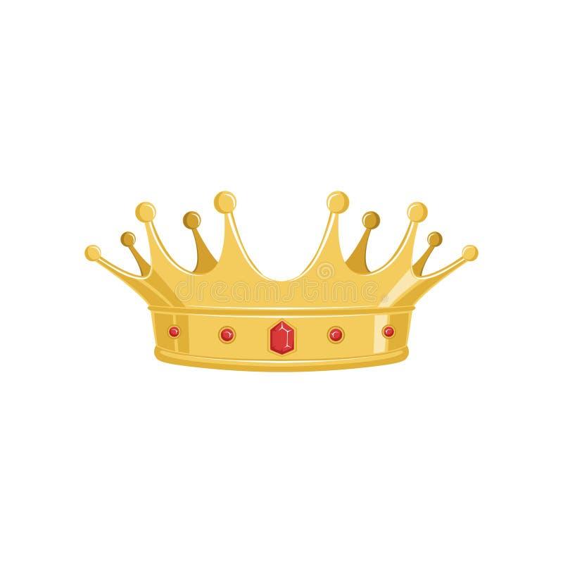 Coroa antiga dourada com as pedras preciosas vermelhas para o rei ou o monarca, a rainha ou a princesa, sinal imperial heráldico  ilustração do vetor