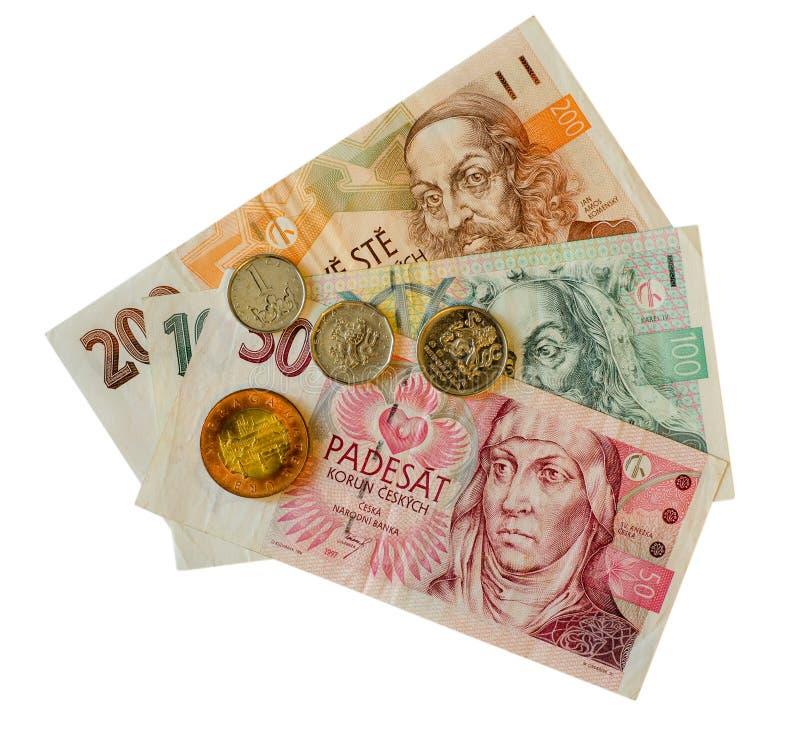 Coroa checa de papel com moedas fotografia de stock