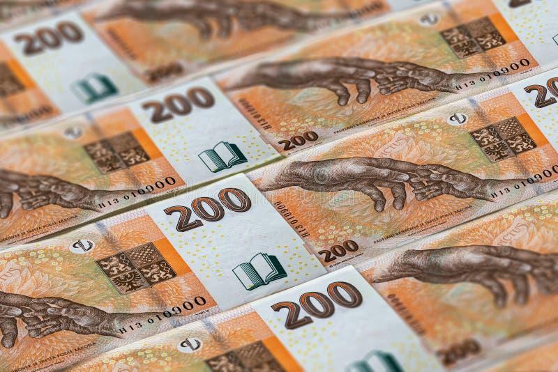 Coroa checa fundo banknoted dinheiro de Rep?blica Checa foto de stock royalty free