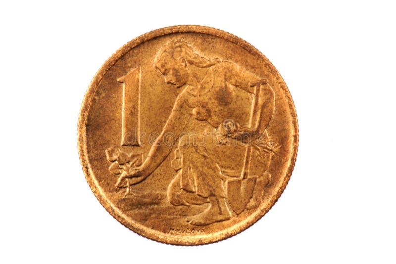 Coroa checa velha (moeda checa - 1 coroa) foto de stock royalty free