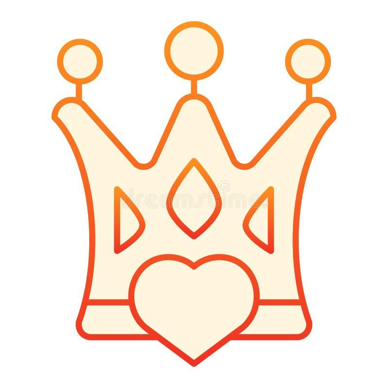Coroa com ícone liso do coração Ícones alaranjados da rainha do amor no estilo liso na moda Projeto do estilo do inclinação do es ilustração royalty free
