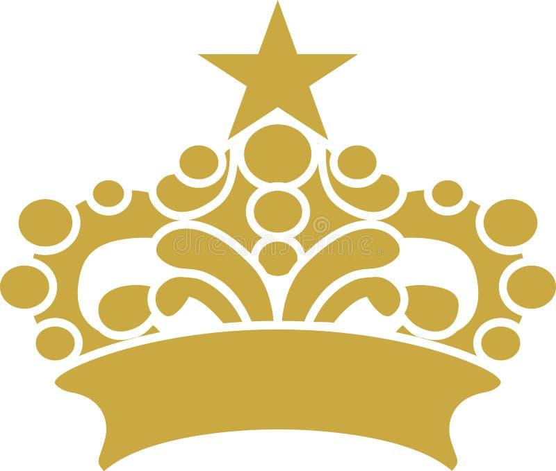 Coroa com arte gráfica do vetor do projeto da estrela imagens de stock