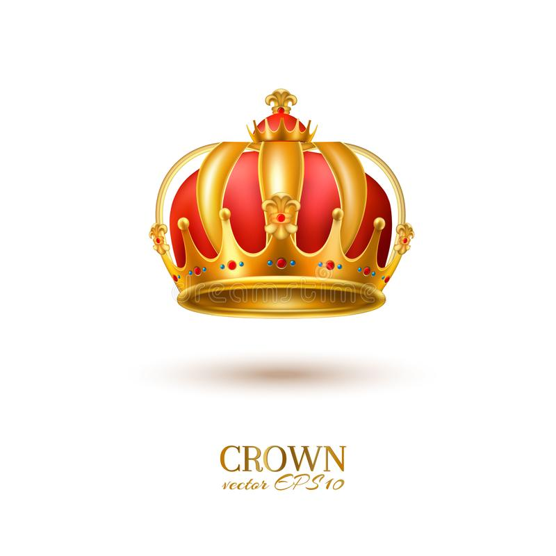 Coroa 3d dourada realística do vetor ilustração royalty free