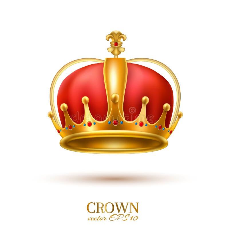 Coroa 3d dourada realística do vetor ilustração stock