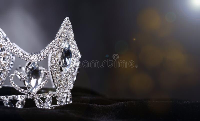 Coroa da prata de Diamon para a senhorita Pageant Beauty Contest, Crystal Tia fotografia de stock royalty free