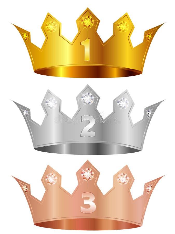Coroa de cobre de prata da coroa do ouro ilustração do vetor