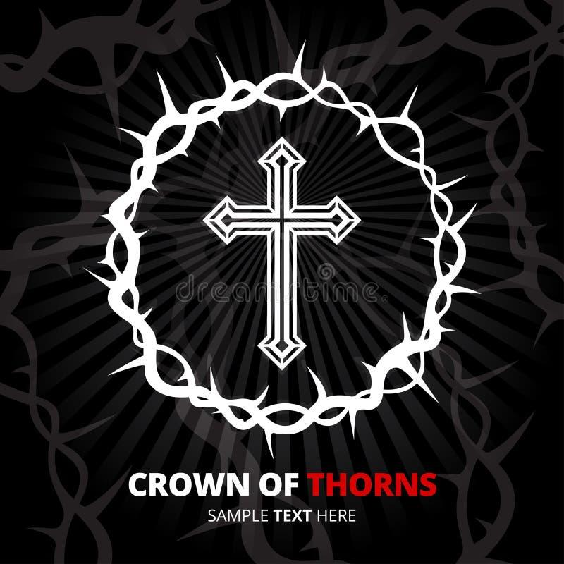 Coroa de espinhos com cruz no fundo preto Ilustração do vetor ilustração stock