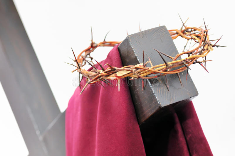 A coroa de espinhos e da cruz imagem de stock royalty free