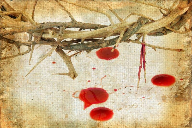 Coroa de espinhos e de gotas do sangue fotografia de stock